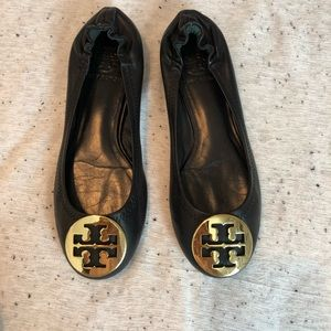 Tory Burch Black Gold Leather Flats